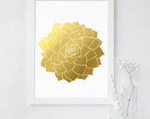 Succulent Plant Art Print - Succulent Wall Art - Real Gold Foil Print - Botanical Print - Succulent Arrangement - Hen and Chicks Plant Art