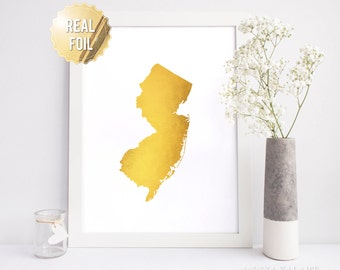 New Jersey Wall Art - NJ Map Real Gold Foil - Custom Background Color - New Jersey Map Print - Gold And Black Glamorous