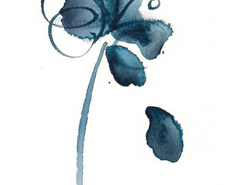 "Indigo blue watercolor abstract flower art print: ""The Blues Singer"""