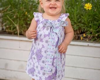 Girls Lavender Dress- Girls Purple Dress- Girls Dress- Girls Lavender and Teal Dress- Girls Flower Dress-Flower Girl Dress- Floral Dress