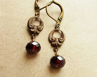 "Faceted Garnet Rondelle ""Vintage Fleur"" Brass Ear-rings // January Birthstone // Antique Brass Leverbacks (One Pair)"