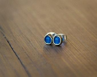 Itty Bitty Cobalt Blue Beaded Wire Wrapped Stud Earrings - Small Blue Earrings in Silver