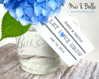 Personalized Wedding Tags, Let Love Grow Tags, Supplies, Gift Tags, Bridal Favor, Wedding, Party Favor, Gift Tags - Set of 24