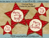 Instant Download - Printable Hang Tags - Star - Merry Christmas Merry & Bright - Digital Print PDF and/or JPG File