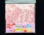 Japanese  Paper - Cherry Blossom Paper - Origami Paper - 4 Patterns 60 Sheets 15 x 15 cm