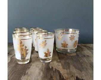 Libby Gold Leaf Glasses - Libby Gold Leaf Ice Bucket - Set of 8 Glasses
