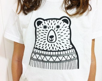 Children's Bear T Shirt age 3-4 years designed by Jane Foster  - illustration retro black and white - unisex