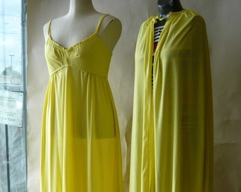 Vintage 60s Yellow Maxi DRESS with CAPE size 6 8 10 Evening  2pc GODDESS Floor Length Empire Spaghetti Straps