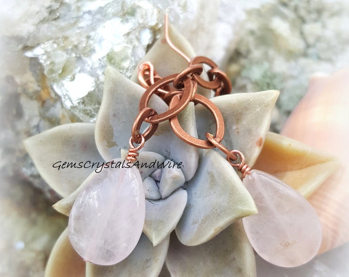 Rose Quartz, Antique Copper, Vintage Necklace, Gemstone Earrings, Romance, Victorian, OOAK