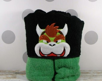 Toddler Hooded Towel - Bowser Hooded Towel - Bowser Towel for Bath, Beach, or Swimming Pool
