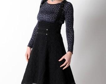 Black suspender Skirt, Black lace skirt, High waisted black jumper skirt, Womens black lace skirt