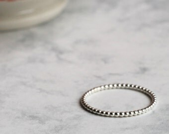 Dotted Stacking or Midi Ring - Sterling Silver | midi ring | stacker ring | simple silver ring | beaded ring | dotty ring | pay day treat