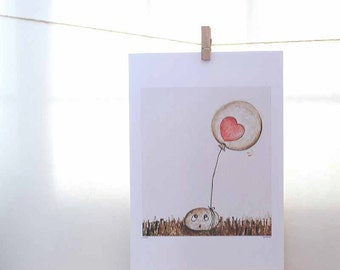 balloon art, sepia and pink, pink heart, whimsical painting, etsybaby, A4 print, 7 x 7 frame, brown grass, proposal gifts