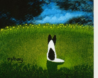Papillon Dog original 5 x 7 art painting by Todd Young
