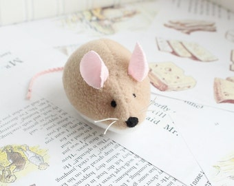 Tan Mouse Stuffed Animal Plush Mouse Fleece Mouse Toy Field Mouse