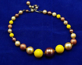 Vintage Japan Beaded Necklace Choker - Yellow, Cream and Copper STUNNING!