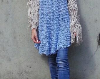 Blue Knit Dress,  Babydoll dress, knitted summer beach dress. Looseknit