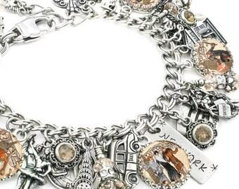 New York Charm Bracelet, New York Jewelry, New York Bracelet, The Big Apple Jewelry