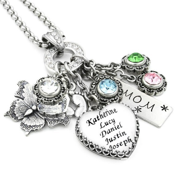 Personalized Mothers Necklace Childrens Names by
