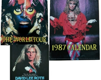 1987 David Lee Roth Calendar, 1986 Eat 'Em and Smile World Tour Concert Book, What A Guy! Vintage Rock and Roll Music Memorabilia