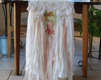 Whispers of Love - Vintage Lace Shabby Chic Hand Stitched Pink Angel Table Runner