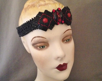 Vintage 1920s Gatsby Headband, Headpiece, Black and Red, Victorian Jet Beads, Dramatic