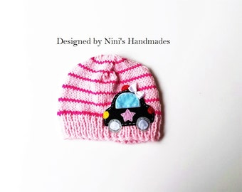 Girls Knit striped Police CAR inspired Beanie, girls apparel, girls clothing, girl clothing, kids  wholesale apparel, police baby shower