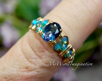 Petite Mystic Topaz, Peacock Blue Mystic Topaz, Wire Wrapped Ring, Rainbow Mystic Topaz, November Birthstone, Unique Engagement Promise Ring