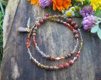 Gemstone Crystal Fall Inspired Double Wrap Bracelet - Choker - Red Orange Yellow Brown - Boho Stone Jewelry - Bohemian Free Spirited Feather