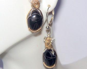 EGYPTIAN Scarab EARRINGS Black Obsidian Carved Gemstone 925 Sterling Silver & 14k Gold Filled Leverbacks