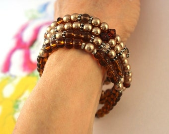 Brown Beaded Stacked Bracelet SET Stretchy