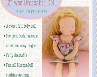 Easy Waldorf Inspired 12 inch Blossom Girl Doll Sewing Pattern - PDF - Instant Download