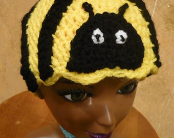 Bumble Bee Hat Crocheted Any Size Made to Order