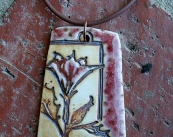 Copper Red Thornapple Porcelain Pendant
