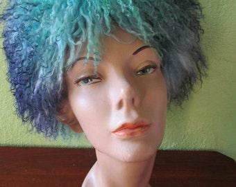 Blue Rainbow Ombre Lambswool Marzi Neiman Marcus Vintage Wig Hat Italy Handmade