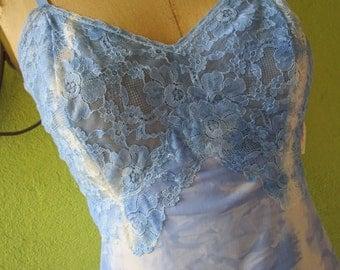 sz 34 Tie Dye Slip Kayser Blue Lingerie 1980s  Metal Sliders Lace Nylon
