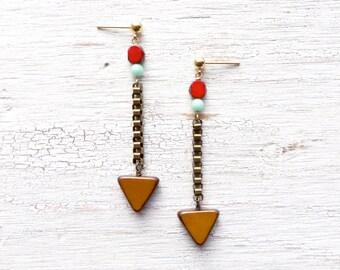 Boho Earrings / Stud Earrings / Tribal Earrings / Long Earrings / Jewelry Gift / Gift Idea For Her / Christmas Gift For Her / Gift Under 30