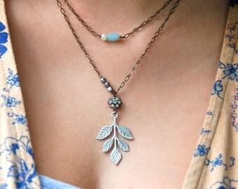 Leaf necklace/layering necklace/gemstone necklace/boho necklace. Tiedupmemories