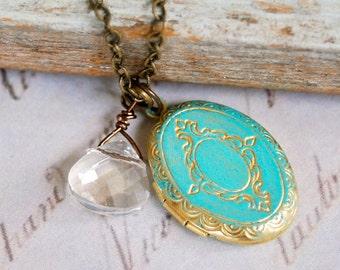 Christa. shabby chic, crystal ,locket , charm necklace.Tiedupmemories