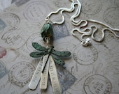 Waste Phish song lyrics hand-stamped aluminum with dragonfly and flower verdigris pendant