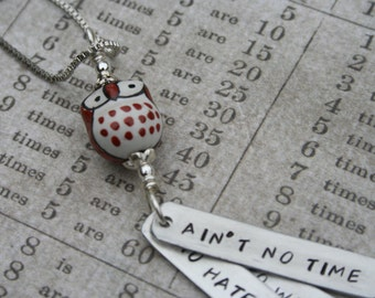 Uncle John's Band Grateful Dead song lyrics hand-stamped aluminum pendant Ain't no time to hate barely time to wait