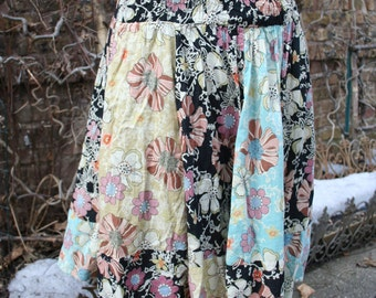 India cotton floral panel tube-top waist skirt black blue yellow medium