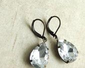 Clear Rhinestone Jewel Drop Earrings