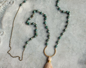 Dark Turquoise Green and Tan Tassel Necklace, Glass Beads, Beige Tassel Long Necklace, Beaded Bohemian Tassel Necklace
