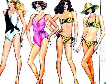 Summer Bikini swimsuit Resort Beach Vacation bathing suit sewing pattern Butterick 3765 80s vintage travel holiday fashion style Sz 8 UNCUT