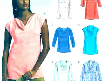 Chic Summer tops womens tunic Easy options Vogue 8816 UNCUT sewing pattern Size 6 to 14