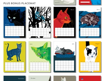 2016 Cats Limited Edition Wall Calendar +  One bonus Placemat