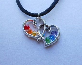 Rainbow Hearts Pendant -- Linked Double Silver Hearts, Wire Wrapped Rainbow Swarovski Crystals, Gay Pride, Love Wins, Wedding Hearts