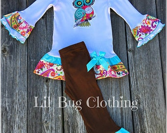 Owl Girl Outfit, Owl Girl Tee & Pant Outfit, Owl Girl Birthday Party Outfit, Fall Girl Clothes, Fall Toddler Clothes