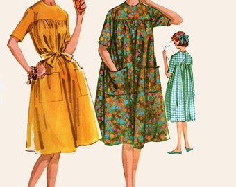 Vintage 60s McCalls 6056 MOD Lounger EASY House Dress Vintage 60s Sewing Pattern Size 14 Bust 34 UNCUT